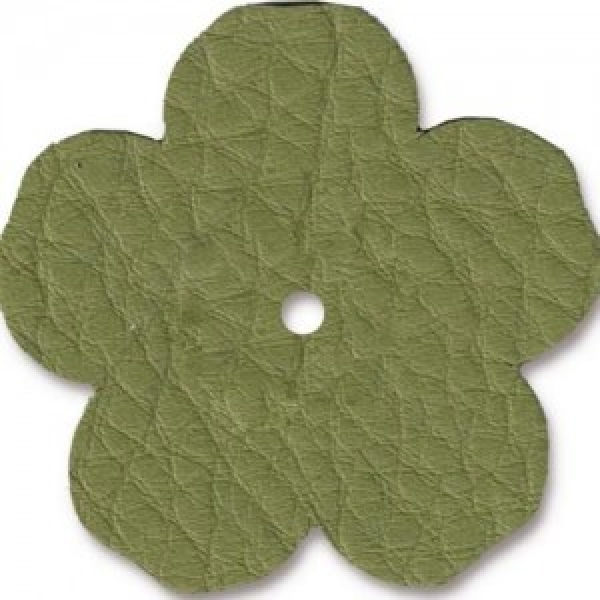 Leather 1.25 Inch Flower Avocado - Pkg of 10 TierraCast® Brand