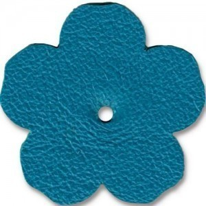 Leather 1.25 Inch Flower Turquoise - Pkg of 10 TierraCast® Brand