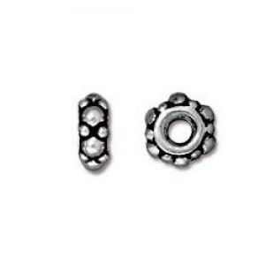 4mm Small Turkish Spacer 1.25mm Hole Antique Silver - Pkg of 100 TierraCast® Britannia Pewter