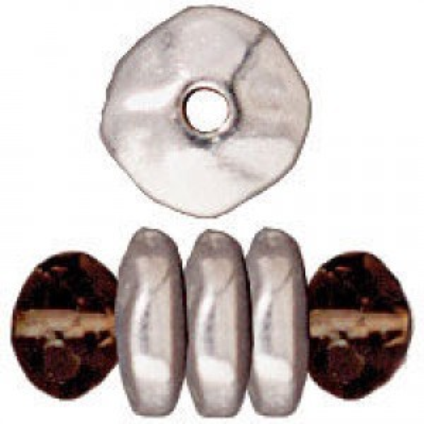 Bead 7mm Nugget Heishi Bright Fine Silver - Pkg of 100 TierraCast® Britannia Pewter