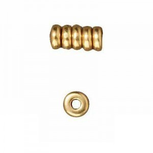 Heishi 4mm Disk Bright Gold - Pkg of 250 TierraCast® Britannia Pewter