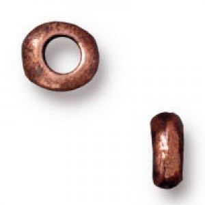 Heishi 5mm Nugget with 2mm Id Antique Copper - Pkg of 100 TierraCast® Britannia Pewter