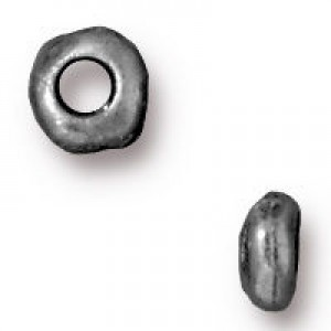 Heishi 5mm Nugget with 2mm Id Antique Pewter - Pkg of 100 TierraCast® Britannia Pewter