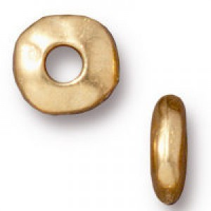 Heishi 7mm Nugget with 2mm Id Bright Gold - Pkg of 100 TierraCast® Britannia Pewter