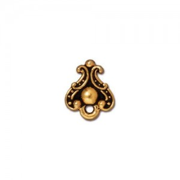 Duchess Earring Post Antiqued Gold Plate - Pkg of 10 TierraCast®