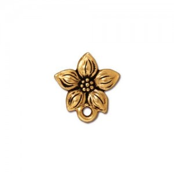 Star Jasmine Earring Post Antiqued Gold Plate - Pkg of 10 TierraCast®
