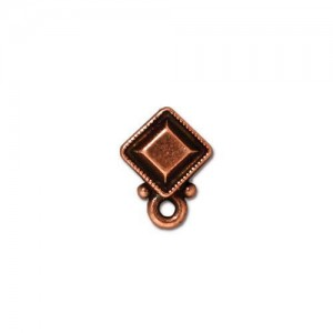 Faceted Diamond Earring Post Antiqued Copper Plate - Pkg of 10 TierraCast®