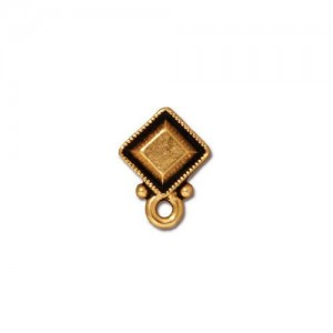 Faceted Diamond Earring Post Antiqued Gold Plate - Pkg of 10 TierraCast®