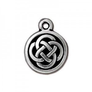 Drop Celtic Round 12mm Antique Fine Silver - Pkg of 20 TierraCast® Britannia Pewter