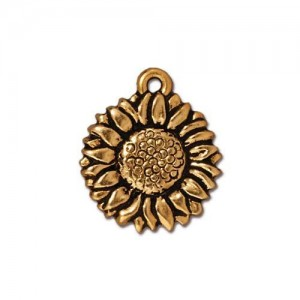 Sunflower Charm Antiqued Gold Plate - Pkg of 20 TierraCast®
