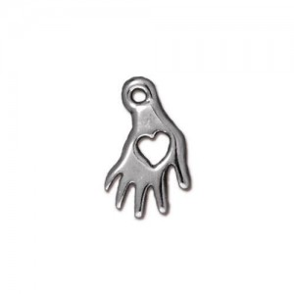 Heart Hand Charm Rhodium Plated - Pkg of 20 TierraCast®