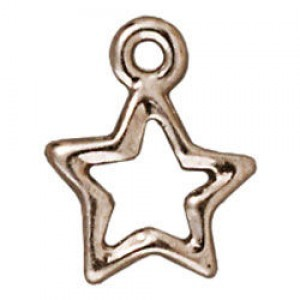 Drop Open Star Bright Rhodium - Pkg of 20 TierraCast® Britannia Pewter