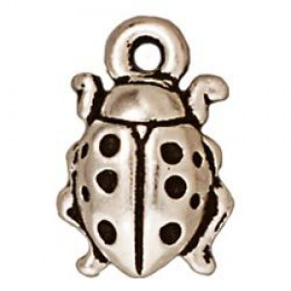Drop Ladybug Antique Fine Silver - Pkg of 20 TierraCast® Britannia Pewter