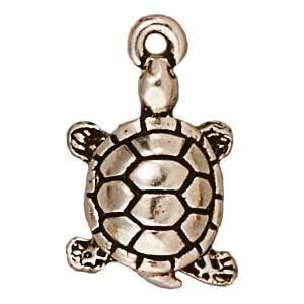 Drop Turtle Antique Fine Silver - Pkg of 20 TierraCast® Britannia Pewter