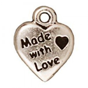 Drop Made with Love Antique Fine Silver - Pkg of 20 TierraCast® Britannia Pewter