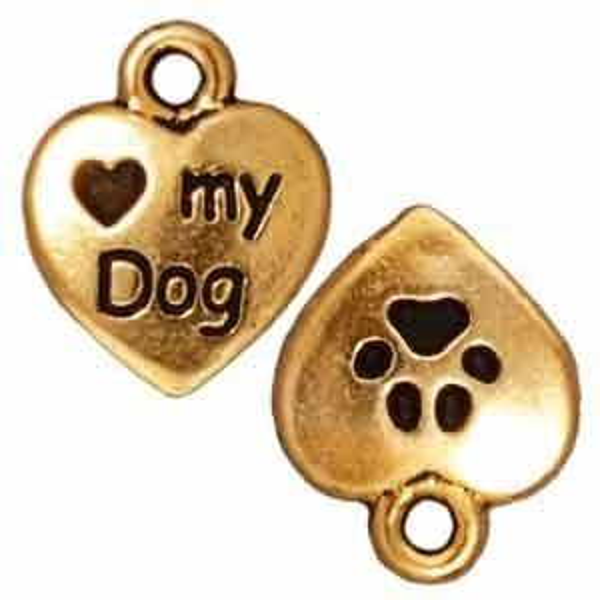 Drop Love My Dog Antique Gold - Pkg of 20 TierraCast® Britannia Pewter