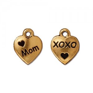 Love Mom Charm Antiqued Gold Plate - Pkg of 20 TierraCast®