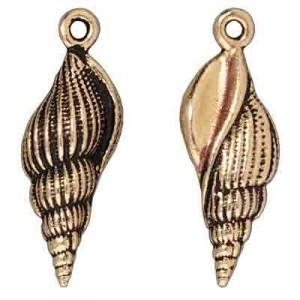 Drop Lg Spindle Shell Antique Gold - Pkg of 20 TierraCast® Britannia Pewter
