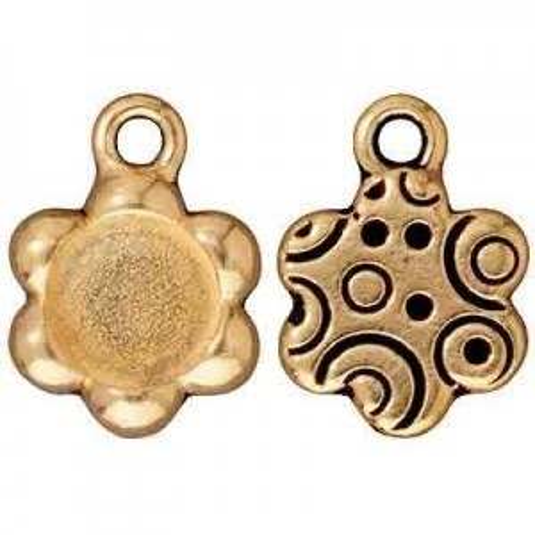 Drop Frame, Sm Flower, Antique Gold - Pkg of 10 TierraCast® Britannia Pewter