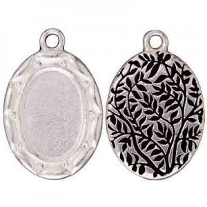 Drop Frame, Scalloped Oval, Antique Fine Silver - Pkg of 5 TierraCast® Britannia Pewter