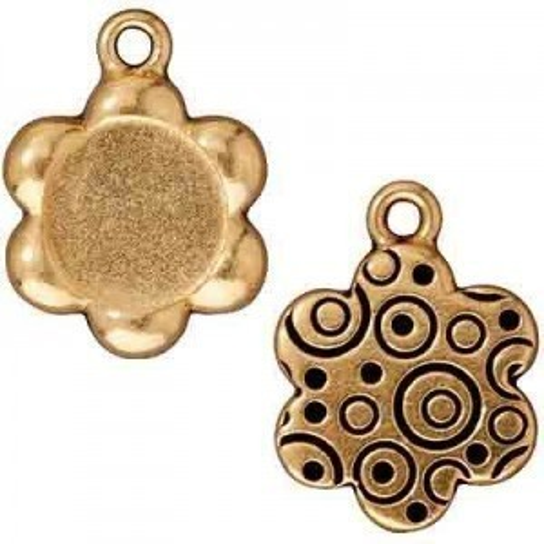 Drop Frame, Lg Flower, Antique Gold - Pkg of 5 TierraCast® Britannia Pewter
