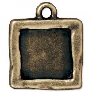 Drop Frame Simple Sq Brass Oxide - Pkg of 20 TierraCast® Britannia Pewter