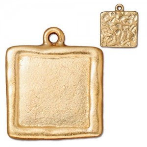 Large Square Frame Charm Gold Plate - Pkg of 10 TierraCast®