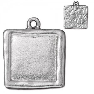 Large Square Frame Charm Rhodium Plated - Pkg of 10 TierraCast®