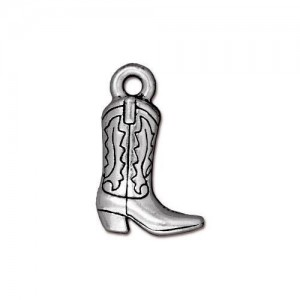 Western Boot Charm Antiqued Silver Plate - Pkg of 20 TierraCast®