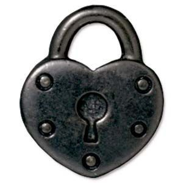 Drop Heart Lock Black Finish - Pkg of 20 TierraCast® Britannia Pewter