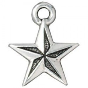 Drop Nautical Star Antique Fine Silver - Pkg of 20 TierraCast® Britannia Pewter
