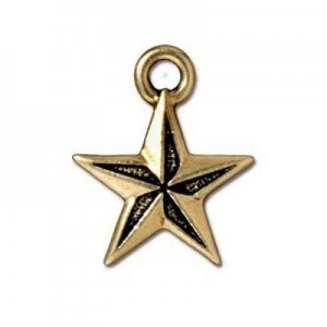 Drop Nautical Star Antique Gold - Pkg of 20 TierraCast® Britannia Pewter