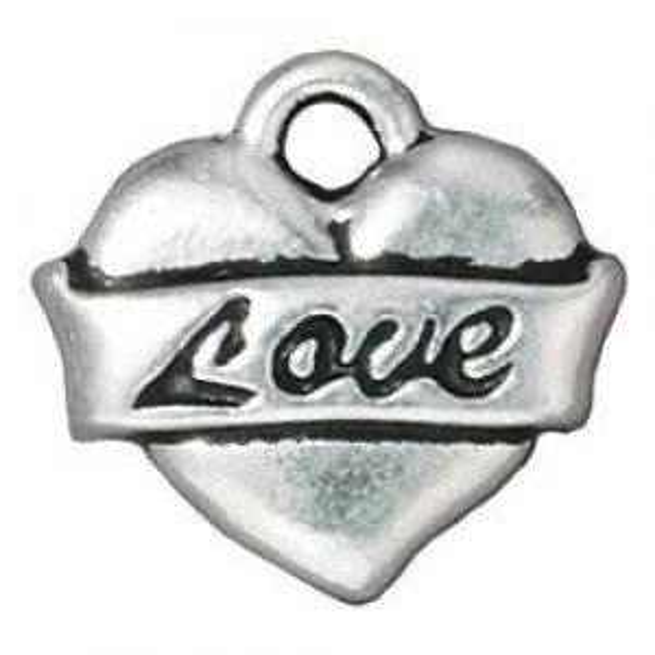 Drop Love Heart Antique Fine Silver - Pkg of 20 TierraCast® Britannia Pewter
