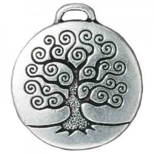 Drop Tree of Life Pendant Antique Fine Silver - Pkg of 10 TierraCast® Britannia Pewter