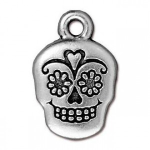 18.5mm Sugar Skull Antique Silver - Pkg of 20 TierraCast® Britannia Pewter