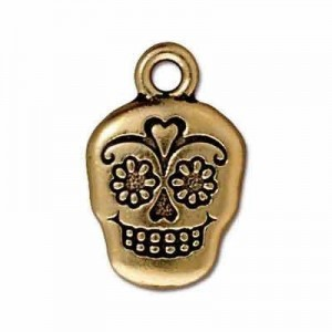 18.5mm Sugar Skull Antique Gold - Pkg of 20 TierraCast® Britannia Pewter