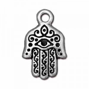 Drop Hamsa Hand 13x21mm Antique Fine Silver - Pkg of 20 TierraCast® Britannia Pewter