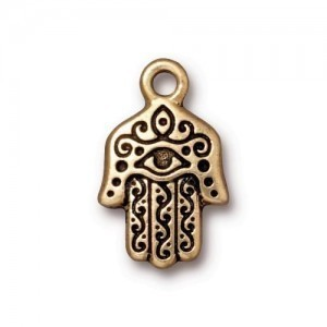 Drop Hamsa Hand 13x21mm Brass Oxide - Pkg of 20 TierraCast® Britannia Pewter