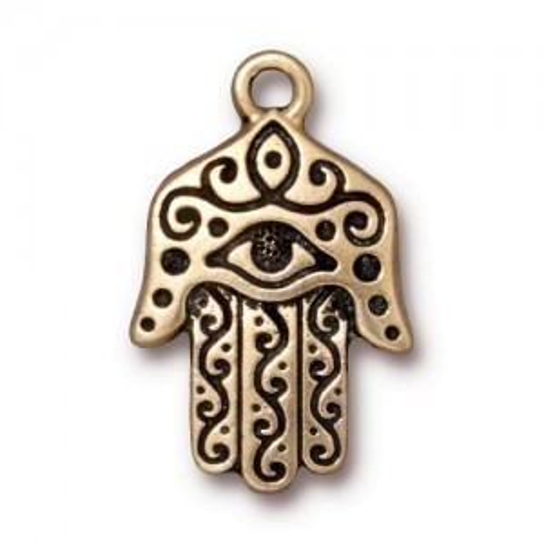 Hamsa Hand Pendant - Pkg of 10 TierraCast® Gold Plate