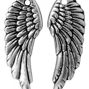 28x11mm Drop Wing Antique Fine Silver - Pkg of 20 TierraCast® Britannia Pewter