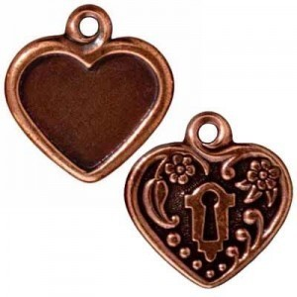 20x19mm Drop Heart Frame Antique Copper - Pkg of 20 TierraCast® Britannia Pewter