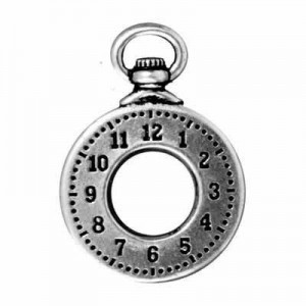 30x21mm Drop Clock Antique Fine Silver - Pkg of 10 TierraCast® Britannia Pewter