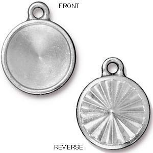 14mm Faceted Drop (Fits 14mm Rivoli) Bright Rhodium - Pkg of 20 TierraCast® Britannia Pewter
