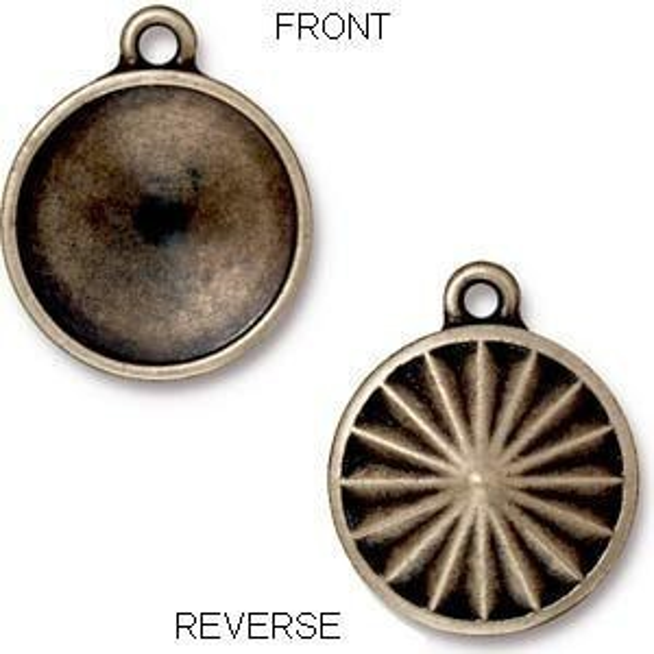 18mm Faceted Drop (Fits 18mm Rivoli) Brass Oxide - Pkg of 10 TierraCast® Britannia Pewter