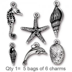 Sea Life Charm Mix Antiqued Silver Plate - Pkg of 30 TierraCast®