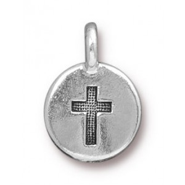 Charm Cross Antique Silver - Pkg of 20 TierraCast® Britannia Pewter