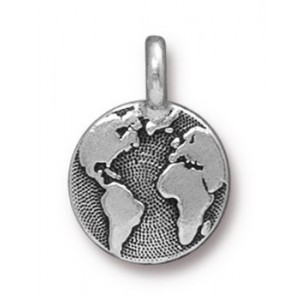 Charm Earth Antique Silver - Pkg of 20 TierraCast® Britannia Pewter