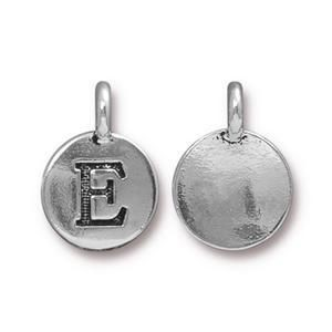 Charm E Antique Silver - Pkg of 10 TierraCast® Britannia Pewter