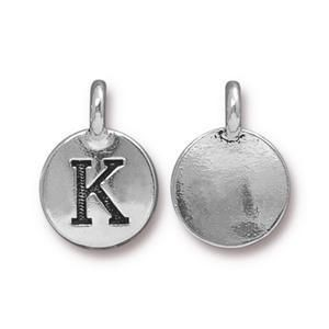 Charm K Antique Silver - Pkg of 10 TierraCast® Britannia Pewter