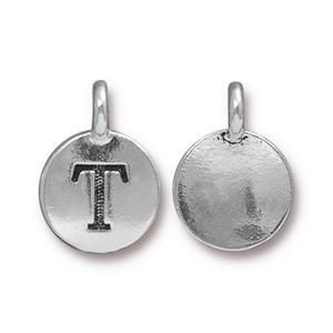 Charm T Antique Silver - Pkg of 10 TierraCast® Britannia Pewter